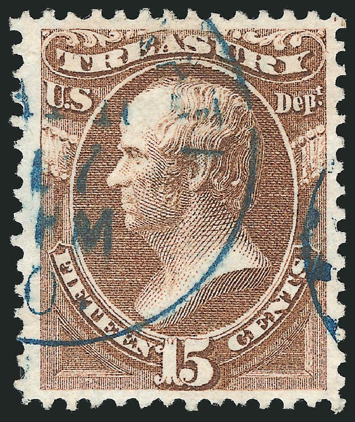 US Stamp Values Scott Catalogue #O79: 15c 1873 Treasury Official. Robert Siegel Auction Galleries, Mar 2012, Sale 1019, Lot 973