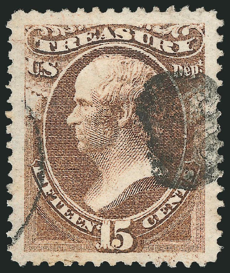 Value of US Stamps Scott Catalog # O79: 1873 15c Treasury Official. Robert Siegel Auction Galleries, Oct 2012, Sale 1032, Lot 3686