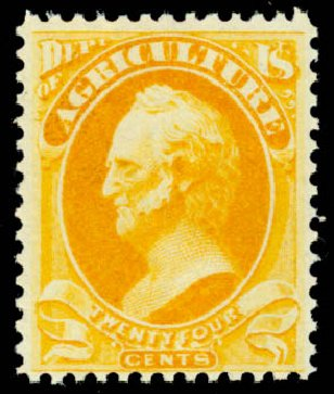 Values of US Stamps Scott Cat. #O8 - 1873 24c Agriculture Official. Daniel Kelleher Auctions, Oct 2014, Sale 660, Lot 2547
