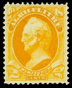 Value of US Stamps Scott Catalogue # O8 - 24c 1873 Agriculture Official. Daniel Kelleher Auctions, Dec 2013, Sale 640, Lot 588