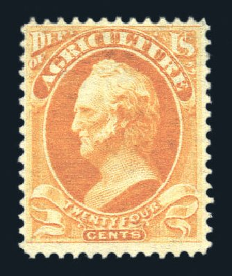 US Stamps Prices Scott O8: 24c 1873 Agriculture Official. Harmer-Schau Auction Galleries, Aug 2015, Sale 106, Lot 2139