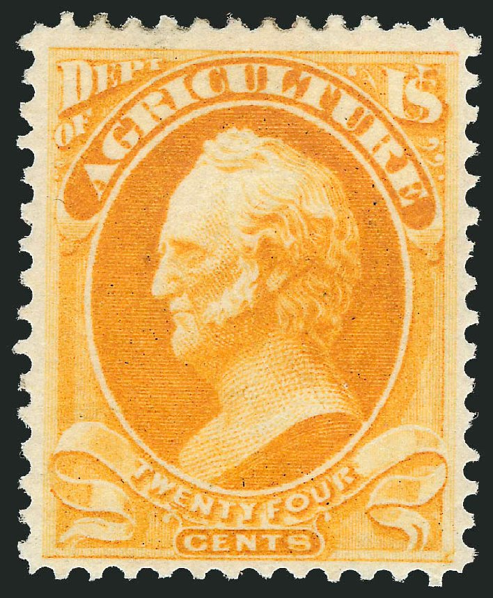 US Stamps Values Scott Catalog #O8: 1873 24c Agriculture Official. Robert Siegel Auction Galleries, Oct 2012, Sale 1033, Lot 4301