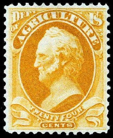 US Stamps Values Scott Cat. #O8 - 24c 1873 Agriculture Official. Matthew Bennett International, Apr 2008, Sale 326, Lot 674