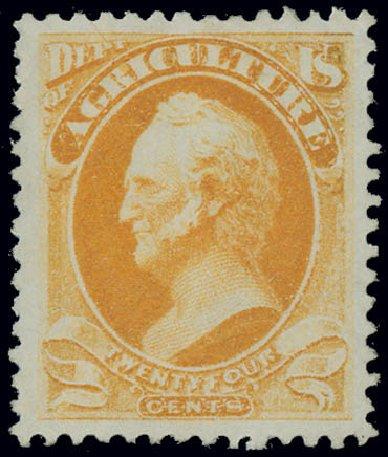 Values of US Stamps Scott Catalogue # O8: 1873 24c Agriculture Official. Matthew Bennett International, Jun 2008, Sale 328, Lot 1214