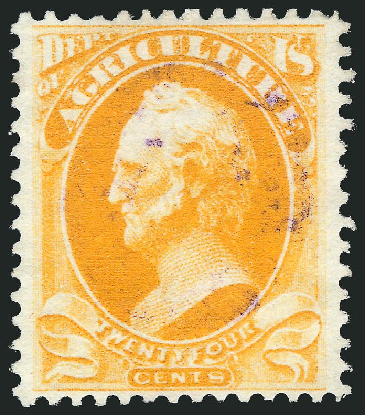 US Stamps Value Scott #O8 - 1873 24c Agriculture Official. Robert Siegel Auction Galleries, Dec 2013, Sale 1062, Lot 825