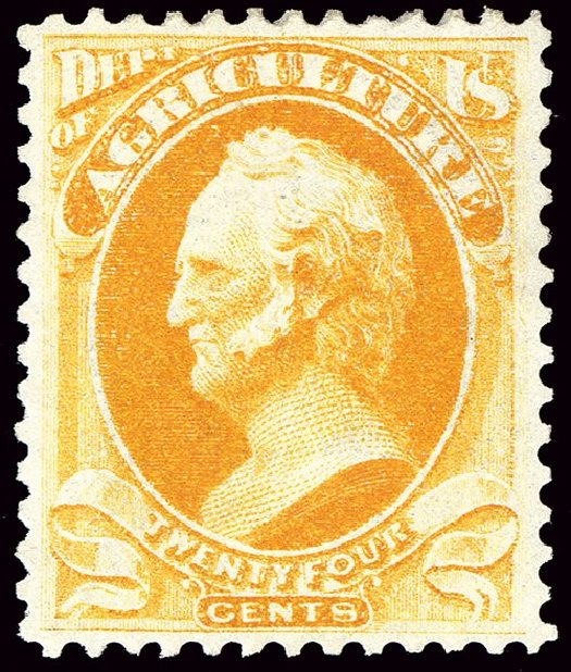 US Stamp Price Scott Cat. # O8 - 1873 24c Agriculture Official. Spink Shreves Galleries, Jan 2014, Sale 146, Lot 525