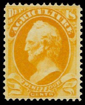 US Stamps Price Scott O8 - 24c 1873 Agriculture Official. Daniel Kelleher Auctions, Jun 2012, Sale 630, Lot 2102