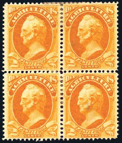 US Stamps Values Scott Cat. O8: 24c 1873 Agriculture Official. Harmer-Schau Auction Galleries, Aug 2011, Sale 90, Lot 1706