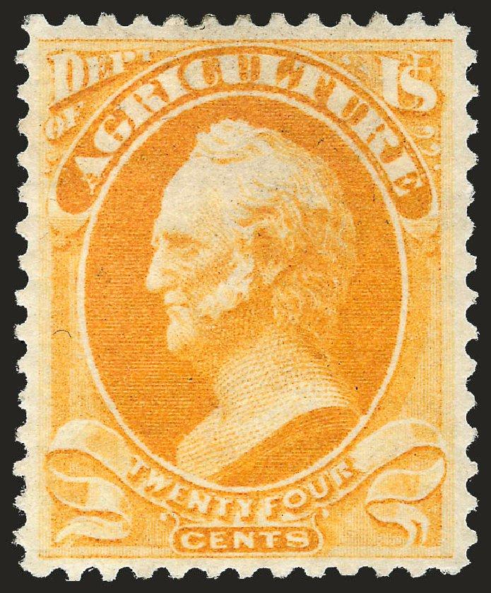 US Stamp Value Scott Catalog O8 - 24c 1873 Agriculture Official. Robert Siegel Auction Galleries, Jun 2009, Sale 975, Lot 2226
