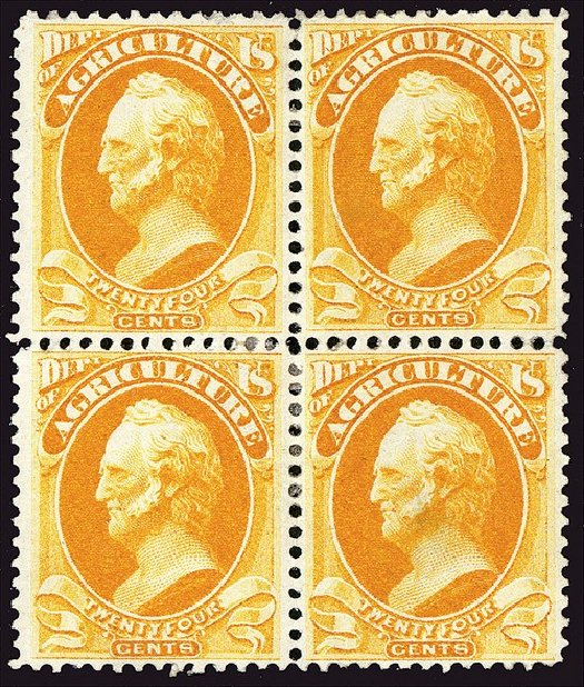 Prices of US Stamp Scott Catalog O8: 1873 24c Agriculture Official. Spink Shreves Galleries, Jan 2014, Sale 146, Lot 526