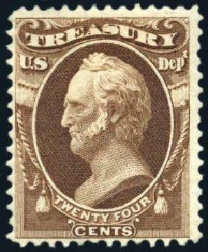 Value of US Stamp Scott # O80: 1873 24c Treasury Official. Harmer-Schau Auction Galleries, Oct 2011, Sale 91, Lot 357