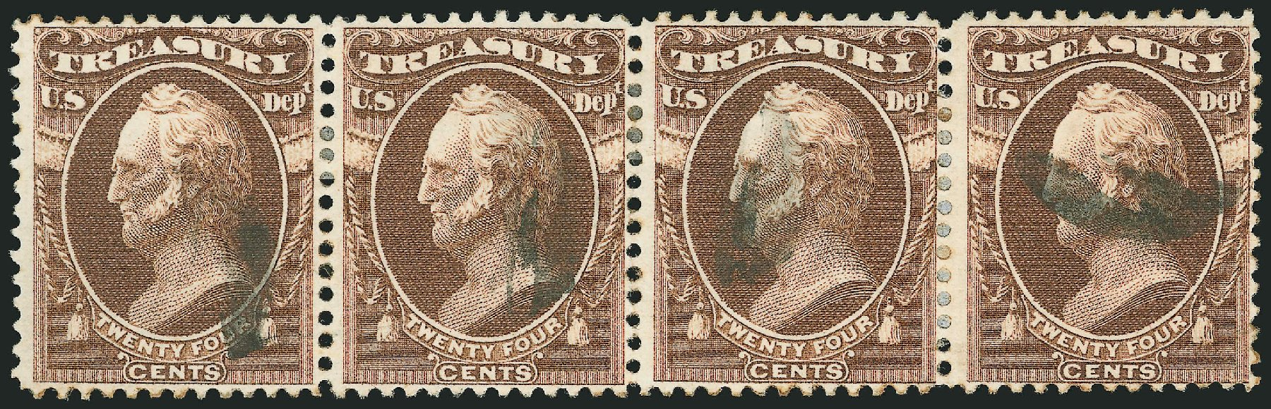 Value of US Stamps Scott Cat. O80 - 1873 24c Treasury Official. Robert Siegel Auction Galleries, Jun 2015, Sale 1100, Lot 98