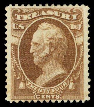 US Stamps Prices Scott #O80 - 1873 24c Treasury Official. Daniel Kelleher Auctions, May 2015, Sale 669, Lot 3389