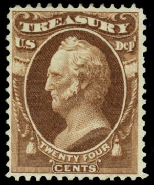 Values of US Stamp Scott Catalog # O80: 24c 1873 Treasury Official. Daniel Kelleher Auctions, Dec 2013, Sale 640, Lot 621
