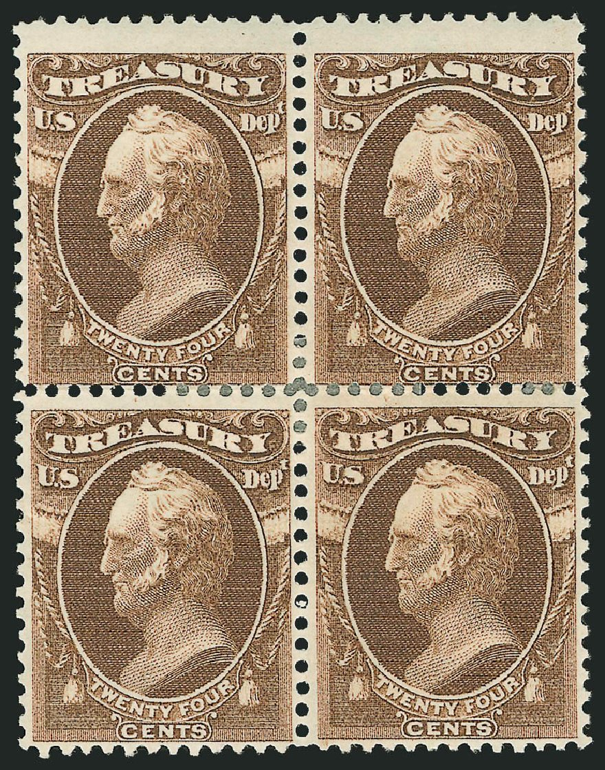 US Stamps Values Scott Catalog O80 - 24c 1873 Treasury Official. Robert Siegel Auction Galleries, Dec 2014, Sale 1090, Lot 1674