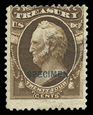 Cost of US Stamp Scott Catalog O80 - 1873 24c Treasury Official. Matthew Bennett International, Sep 2010, Sale 333, Lot 4015