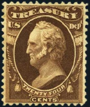 Value of US Stamp Scott Cat. # O80: 1873 24c Treasury Official. Harmer-Schau Auction Galleries, Aug 2012, Sale 94, Lot 1815