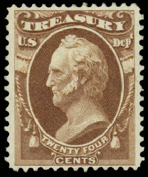 Cost of US Stamp Scott Catalog O80 - 1873 24c Treasury Official. Daniel Kelleher Auctions, Sep 2014, Sale 655, Lot 885