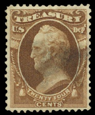 Costs of US Stamp Scott Cat. #O80 - 1873 24c Treasury Official. Daniel Kelleher Auctions, Sep 2014, Sale 655, Lot 886