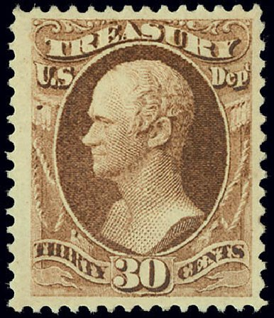 Value of US Stamps Scott Catalogue O81: 1873 30c Treasury Official. Matthew Bennett International, Jun 2008, Sale 328, Lot 1248