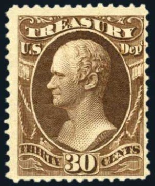 US Stamp Price Scott #O81 - 30c 1873 Treasury Official. Harmer-Schau Auction Galleries, Feb 2010, Sale 84, Lot 1828