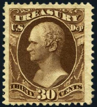 US Stamps Value Scott O81: 1873 30c Treasury Official. Harmer-Schau Auction Galleries, Oct 2012, Sale 95, Lot 299