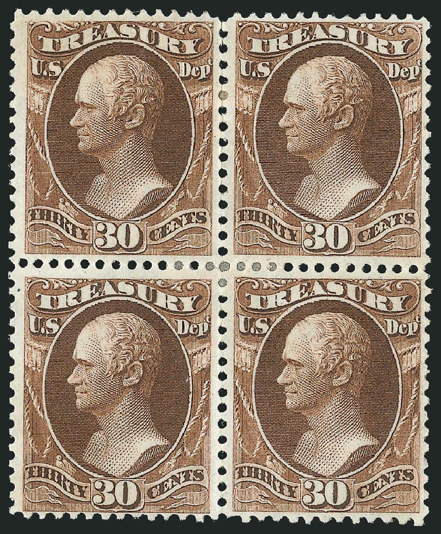 Values of US Stamp Scott #O81: 1873 30c Treasury Official. Robert Siegel Auction Galleries, Nov 2014, Sale 1085, Lot 4132