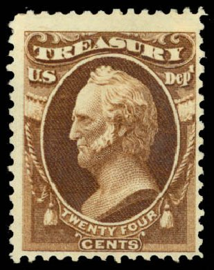 Cost of US Stamps Scott Catalogue #O81 - 1873 30c Treasury Official. Daniel Kelleher Auctions, Jan 2015, Sale 663, Lot 2166