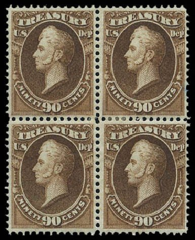 Value of US Stamps Scott Catalog O82 - 1873 90c Treasury Official. Matthew Bennett International, Mar 2011, Sale 336, Lot 1417