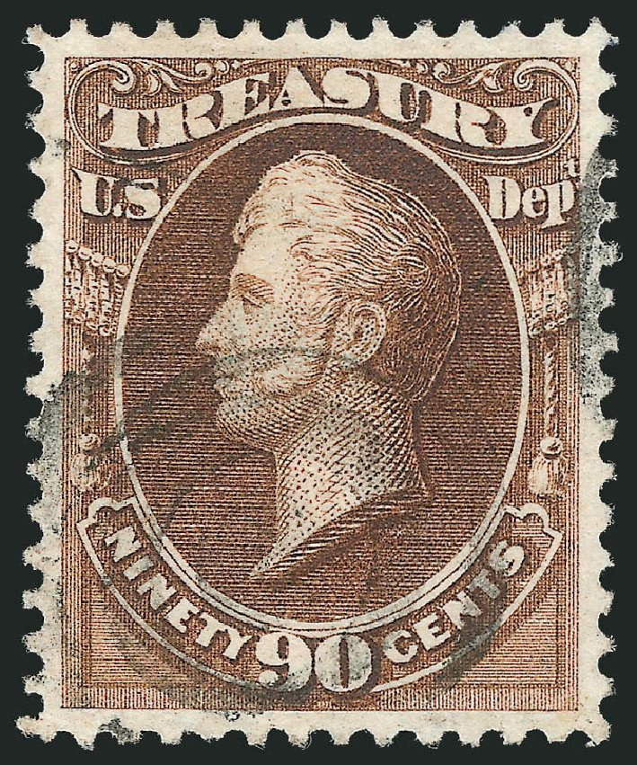 Value of US Stamp Scott Catalogue O82: 1873 90c Treasury Official. Robert Siegel Auction Galleries, Oct 2012, Sale 1032, Lot 3687