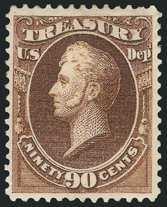 Value of US Stamp Scott Catalog # O82 - 90c 1873 Treasury Official. Robert Siegel Auction Galleries, Feb 2015, Sale 1092, Lot 1467