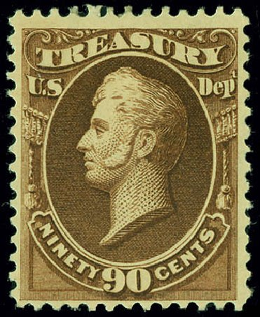 Values of US Stamps Scott # O82 - 90c 1873 Treasury Official. Matthew Bennett International, Jun 2008, Sale 328, Lot 1249