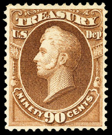 Costs of US Stamp Scott #O82: 1873 90c Treasury Official. Matthew Bennett International, Dec 2008, Sale 330, Lot 1929