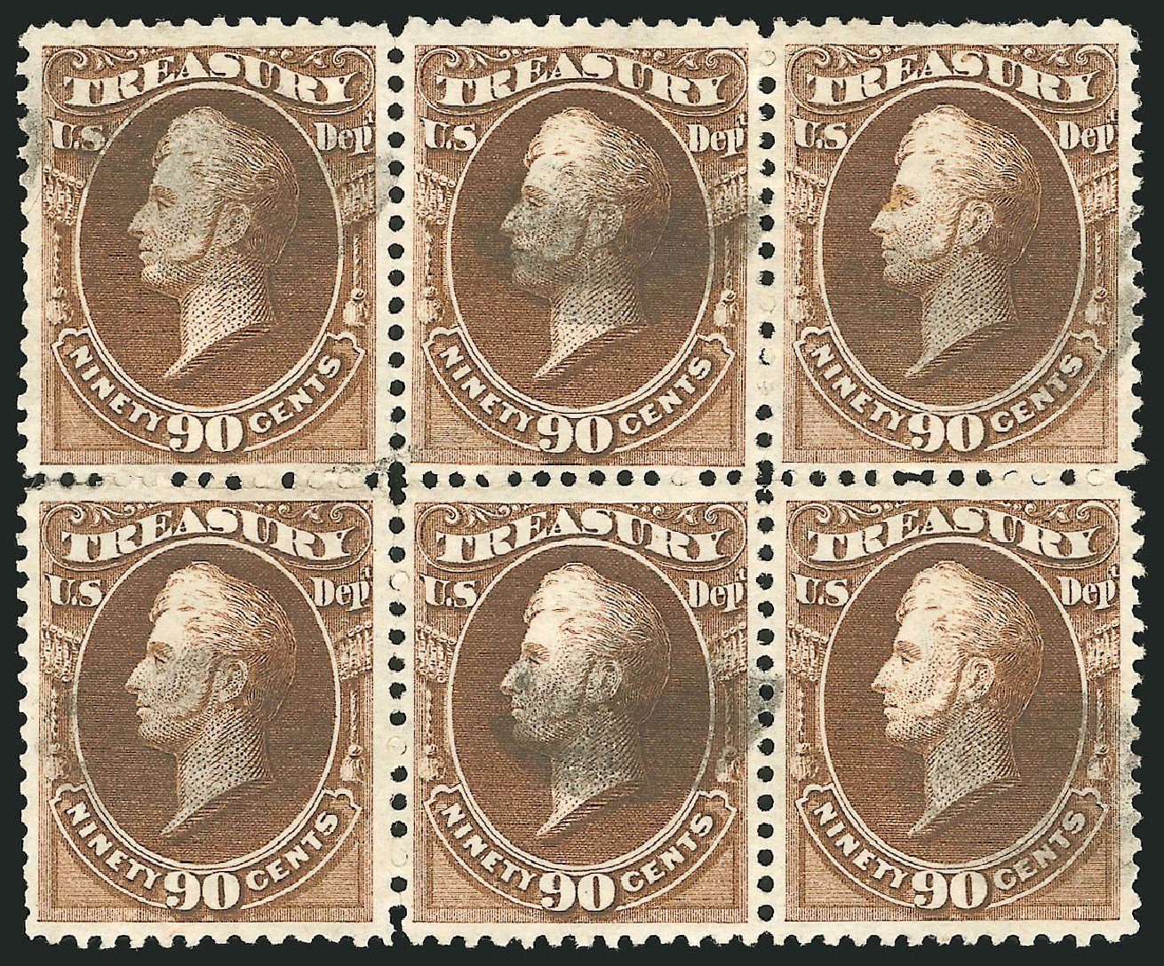 Price of US Stamps Scott Cat. O82 - 90c 1873 Treasury Official. Robert Siegel Auction Galleries, Jun 2015, Sale 1100, Lot 99