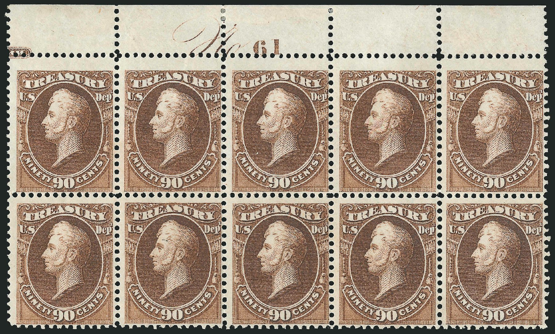 US Stamps Prices Scott Catalog # O82 - 90c 1873 Treasury Official. Robert Siegel Auction Galleries, Nov 2014, Sale 1085, Lot 4135