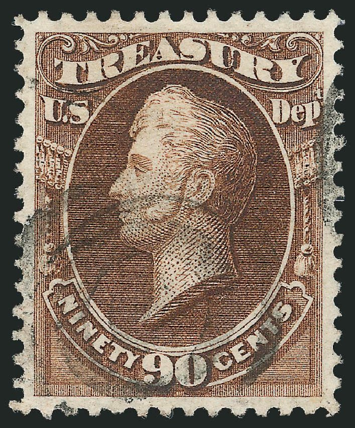 US Stamps Values Scott Cat. O82: 90c 1873 Treasury Official. Robert Siegel Auction Galleries, Jun 2011, Sale 1011, Lot 892