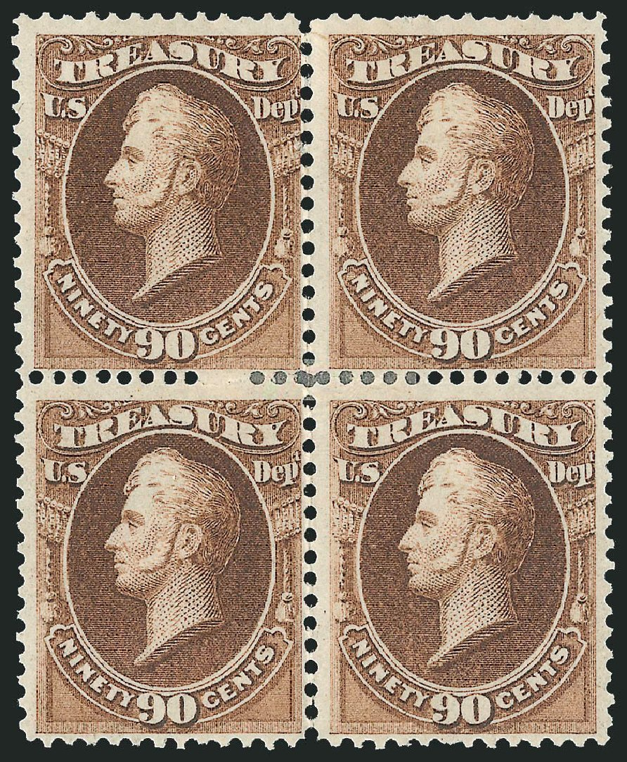 Prices of US Stamp Scott Catalogue #O82 - 90c 1873 Treasury Official. Robert Siegel Auction Galleries, Nov 2014, Sale 1085, Lot 4136