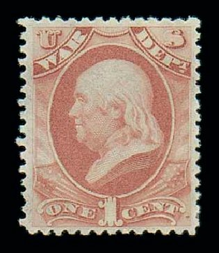 Costs of US Stamps Scott Catalog #O83: 1873 1c War Official. Matthew Bennett International, Dec 2007, Sale 325, Lot 2508