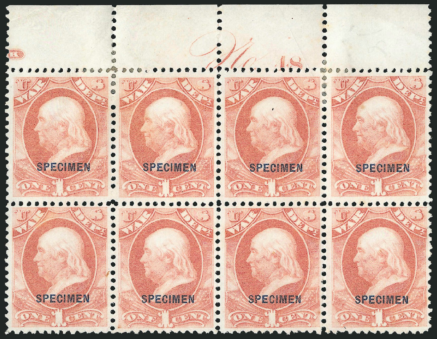 Value of US Stamp Scott #O83: 1873 1c War Official. Robert Siegel Auction Galleries, Mar 2015, Sale 1095, Lot 658