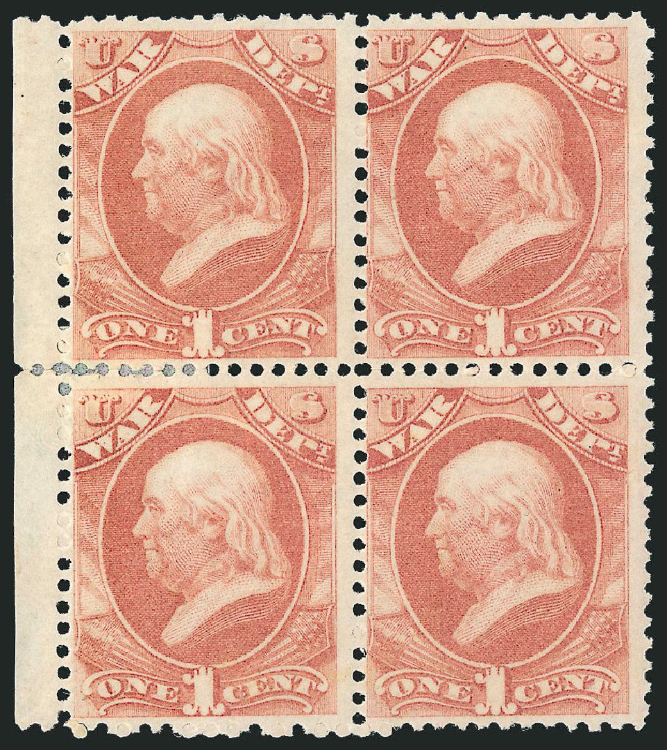 US Stamp Price Scott Catalog O83: 1873 1c War Official. Robert Siegel Auction Galleries, Nov 2014, Sale 1085, Lot 4149