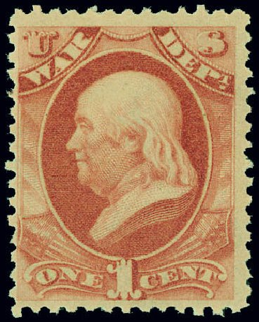 Cost of US Stamp Scott Cat. O83 - 1c 1873 War Official. Matthew Bennett International, Jun 2008, Sale 328, Lot 1250