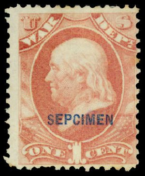 US Stamps Prices Scott O83: 1873 1c War Official. Daniel Kelleher Auctions, Dec 2013, Sale 640, Lot 622