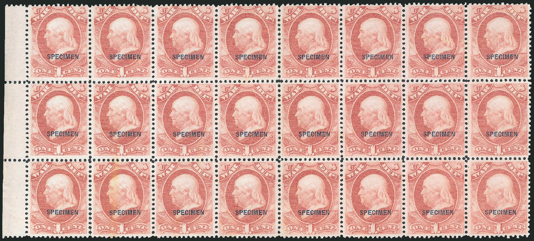 Prices of US Stamps Scott Catalogue O83 - 1c 1873 War Official. Robert Siegel Auction Galleries, Dec 2010, Sale 1003, Lot 5543