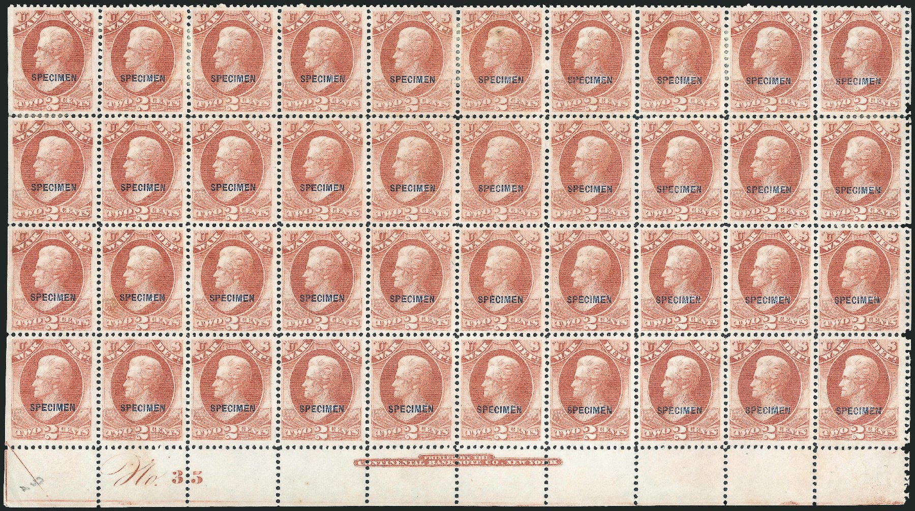 Cost of US Stamp Scott Catalogue # O84: 1873 2c War Official. Robert Siegel Auction Galleries, Dec 2010, Sale 1003, Lot 5547