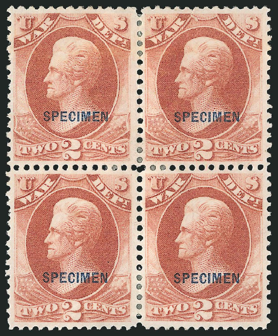 Values of US Stamp Scott Catalog O84 - 2c 1873 War Official. Robert Siegel Auction Galleries, Mar 2015, Sale 1095, Lot 659