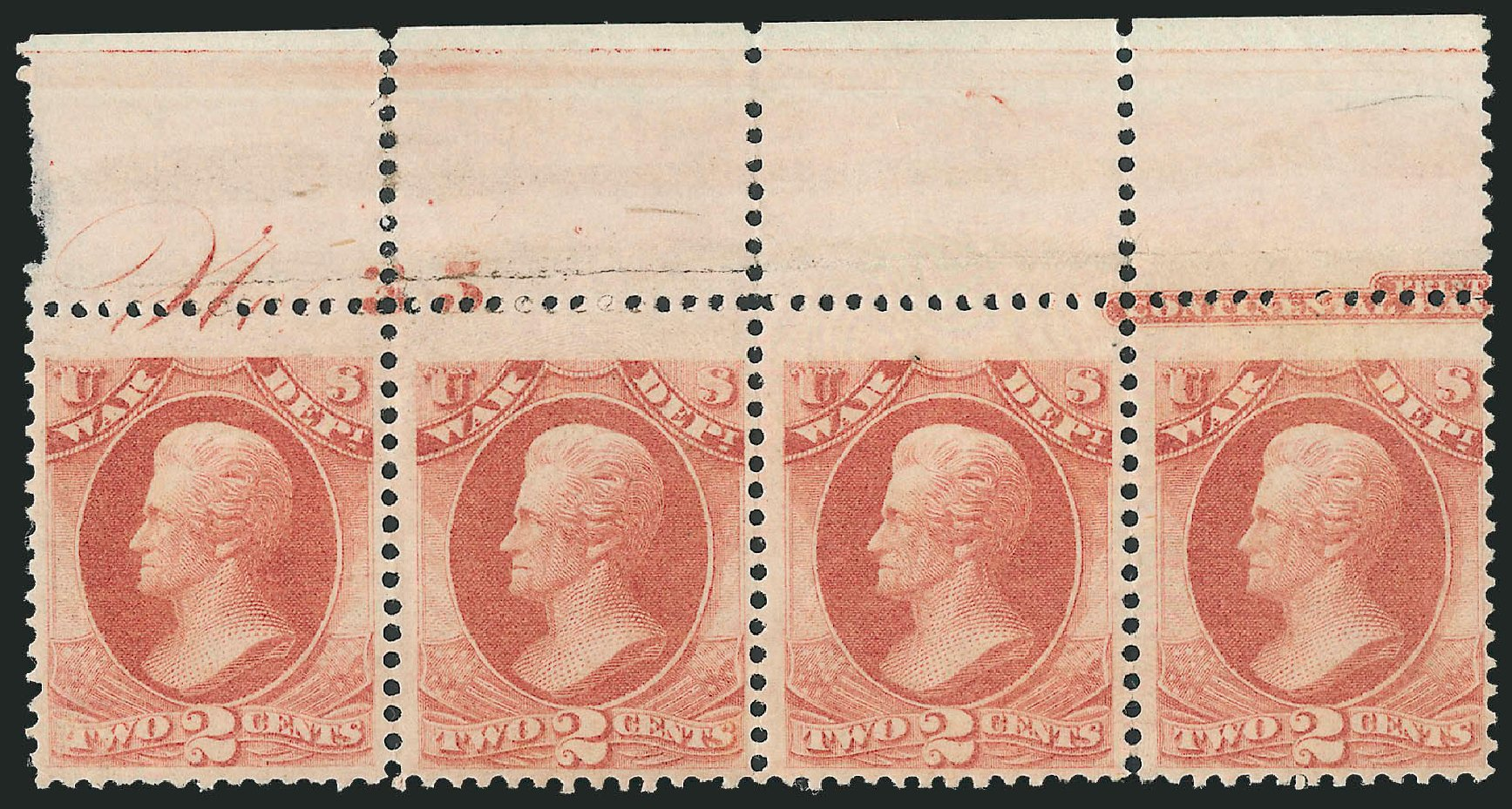 Values of US Stamps Scott Catalog #O84 - 1873 2c War Official. Robert Siegel Auction Galleries, Dec 2010, Sale 1003, Lot 5464