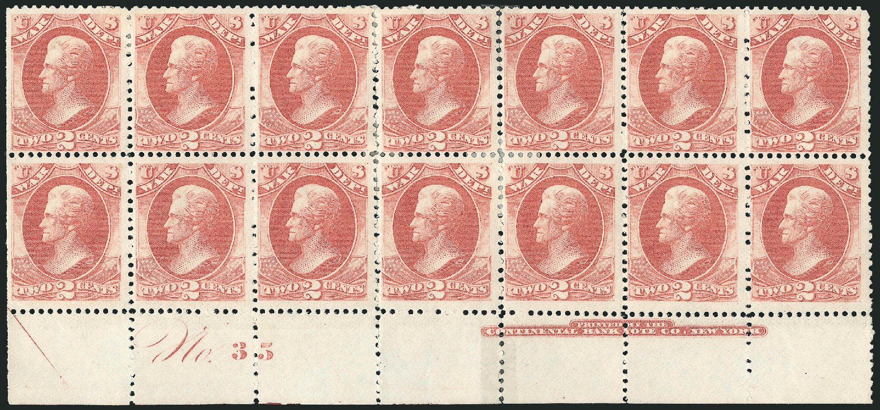 US Stamps Values Scott #O84: 1873 2c War Official. Robert Siegel Auction Galleries, Nov 2014, Sale 1085, Lot 4152