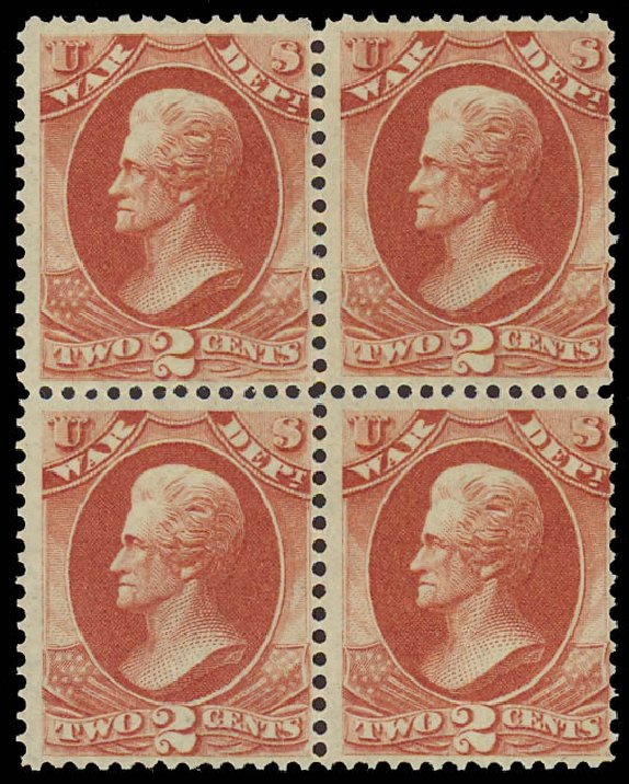 Price of US Stamp Scott #O84 - 1873 2c War Official. Daniel Kelleher Auctions, Aug 2012, Sale 631, Lot 1746