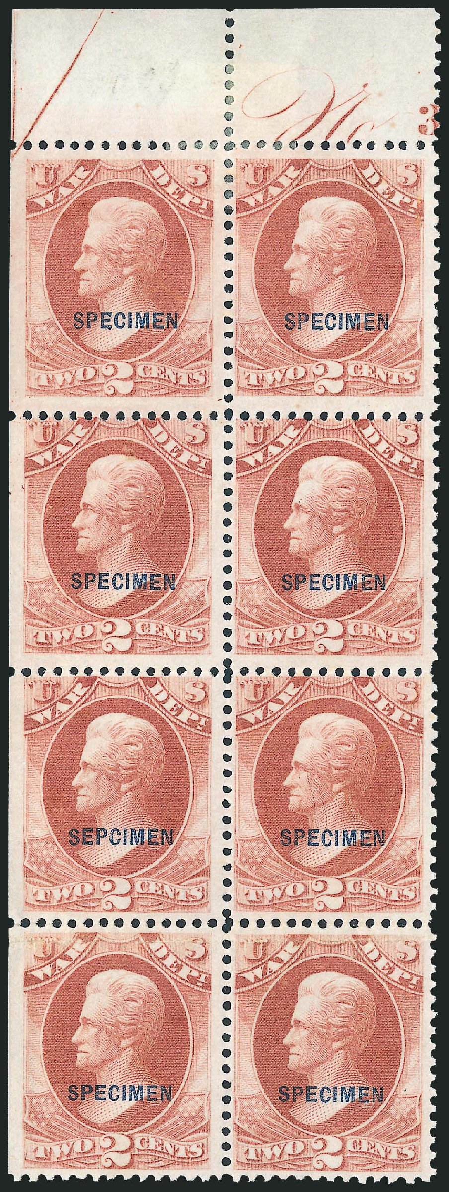 Prices of US Stamps Scott O84 - 1873 2c War Official. Robert Siegel Auction Galleries, Dec 2010, Sale 1003, Lot 5546