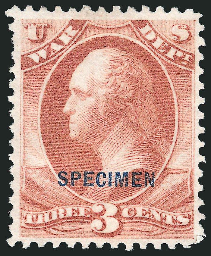 Price of US Stamps Scott #O85: 1873 3c War Official. Robert Siegel Auction Galleries, Mar 2015, Sale 1095, Lot 647